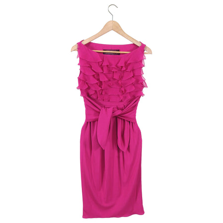 Giambattista Valli Fuchsia Pink Ruffle Silk Jersey Dress - XS