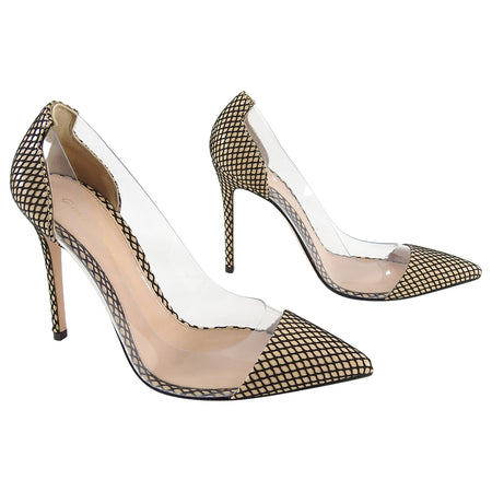 Gianvitto Rossi Nude Mesh and Clear Vinyl Pumps - 41