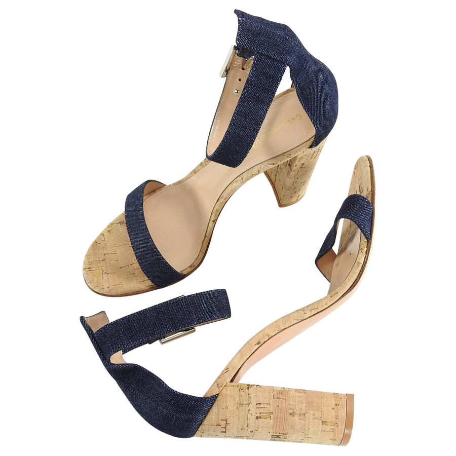 Gianvito Rossi Denim and Cork Chunky Heel Sandals - 38.5