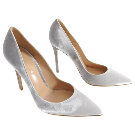 Gianvito Rossi Light Grey Velvet Pumps - 41