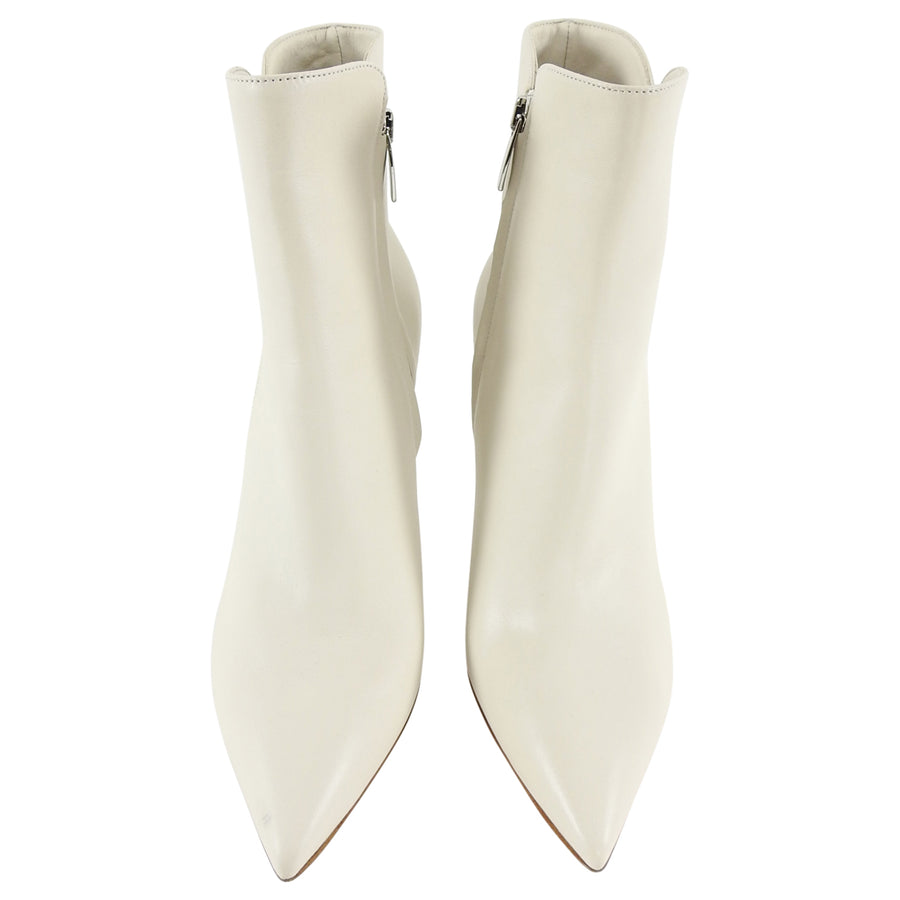 Gianvito Rossi Levy Ivory Leather Pointy Ankle Boots - 6.5