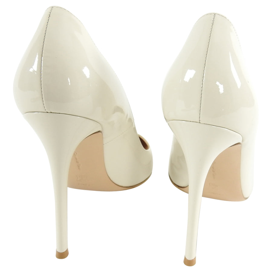 Gianvito Rossi 115mm Ivory Patent Leather Pumps Heels - 41