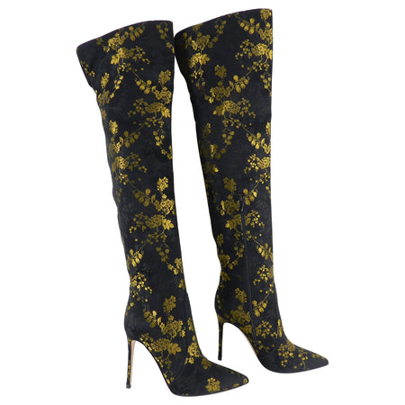 Gianvito Rossi Yellow Floral Over the Knee Brocade Boots - 40