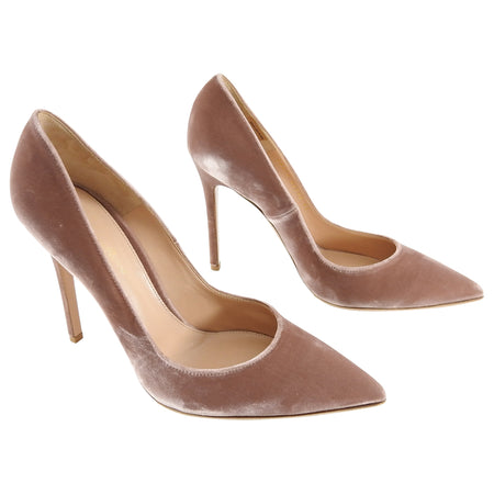 Gianvito Rossi Rose Quartz Pink Velvet Pumps - 41