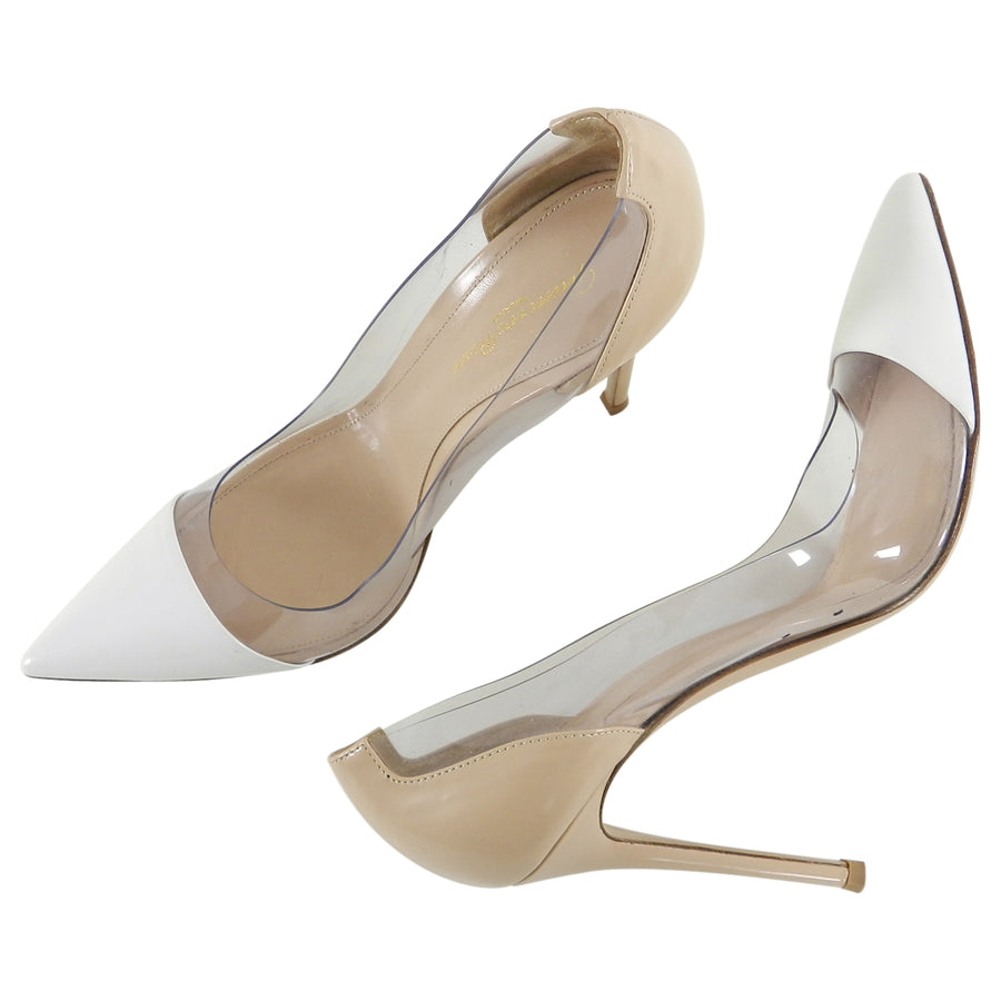 Gianvitto Rossi Nude and Clear Plexi Pumps - 39