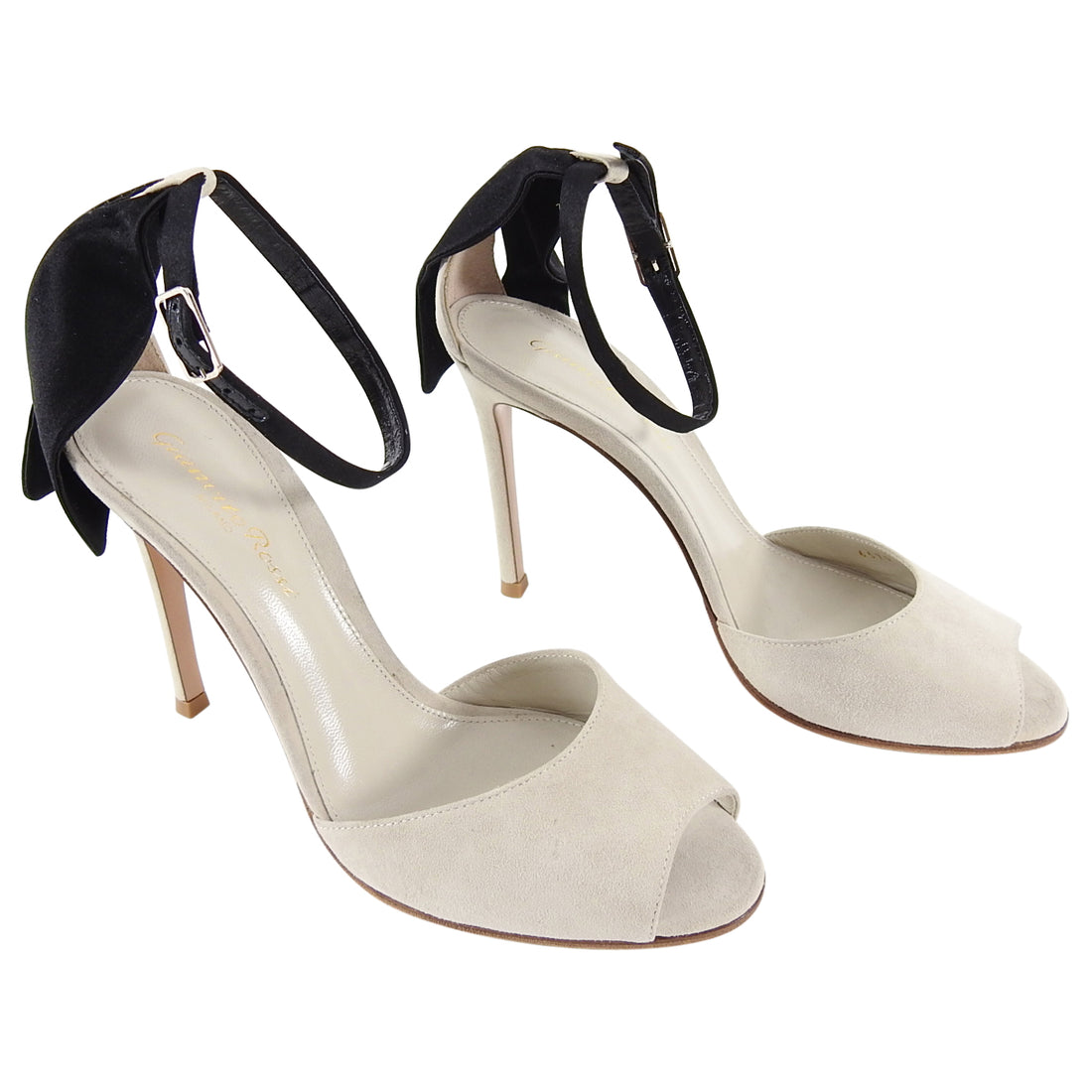 Gianvito Rossi Light Grey Suede Heels with Black Satin Detail - 36 / 5.5