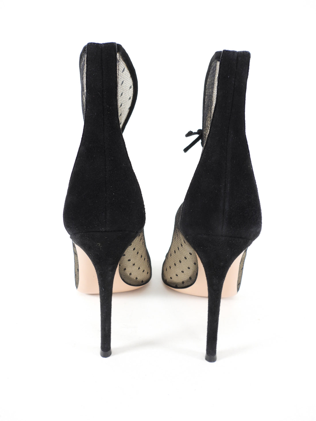 Gianvitto Rossi Black Mesh Suede Swiss Dot Heels - 41