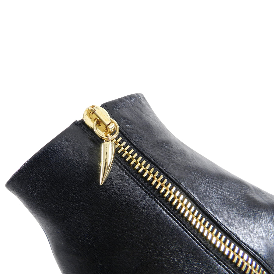Giuseppe Zanotti Black Wedge Ankle Boots with Gold Zipper - 37