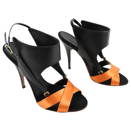 Giuseppe Zanotti x Vionnet Black and Orange Satin High Heel Sandal - 38