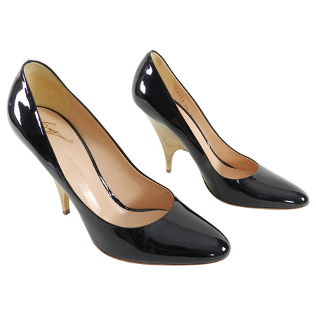 Giuseppe Zanotti Black Patent Pumps with Sculpted Wood Heel - 39