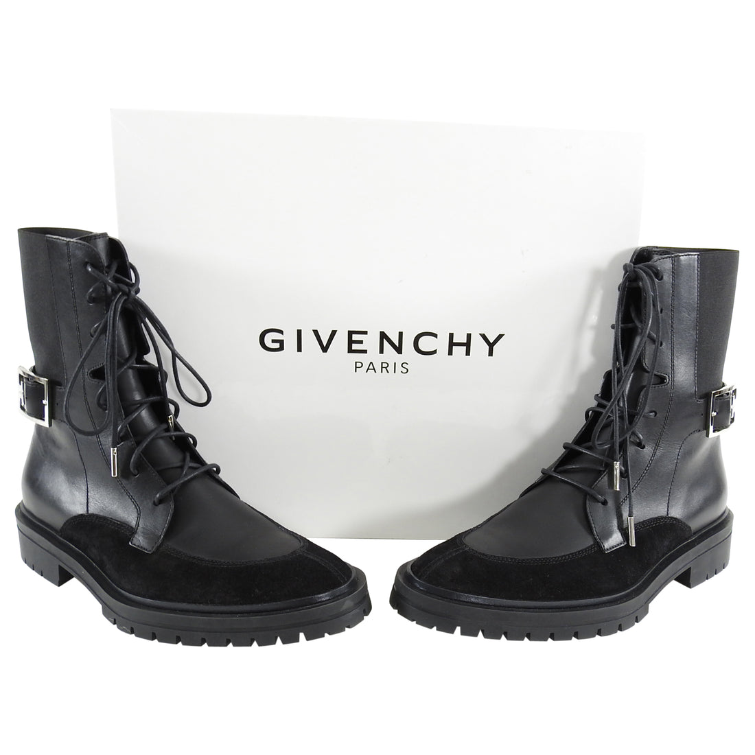 Givenchy Aviator 4G Black Lace Up Leather Suede Ankle Boots