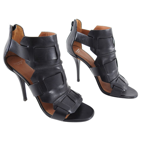Givenchy Black Leather Gladiator High Heel Sandals - 40