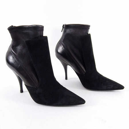 Givenchy Black Pointed Toe Suede Leather Ankle Boots - 9.5