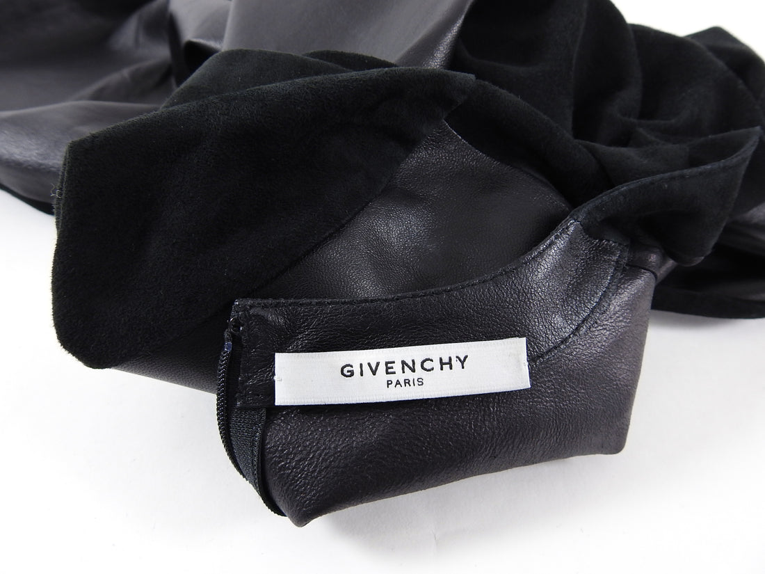Givenchy Black Suede and Leather Short Sleeve Top - 8