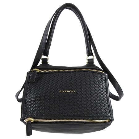 Givenchy Black Woven Leather Small Pandora Bag