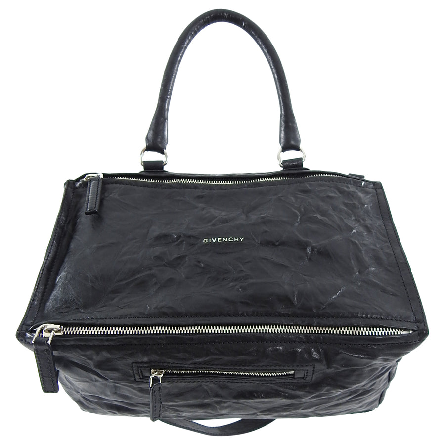 Givenchy Large Black Aged Pepe Leather Pandora Bag