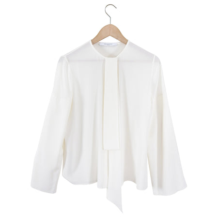 Givenchy White Silk Blouse With Split Sleeves and Tie Neck - IT36 / US 2