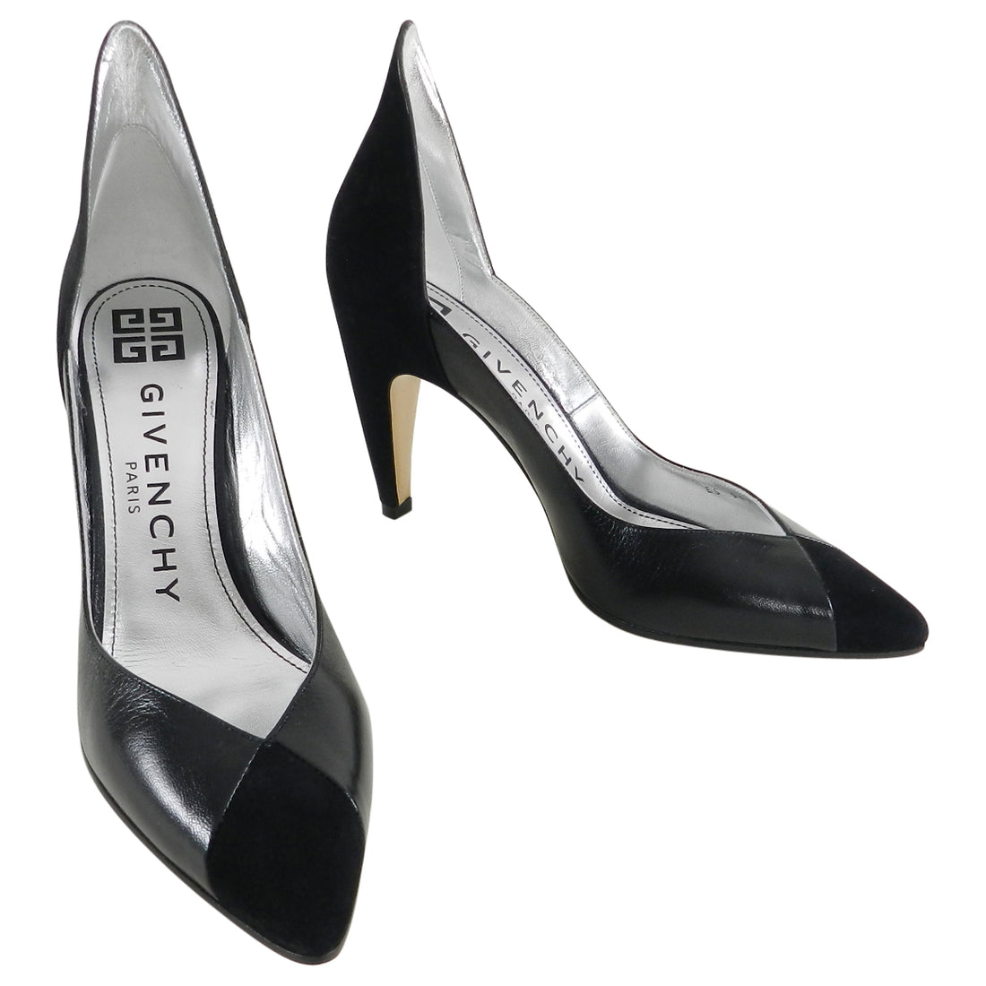 Givenchy Black Suede and Leather High Rise Back Pumps - 39
