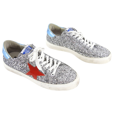 Golden Goose Silver Sparkle and Red May Sneakers - 39