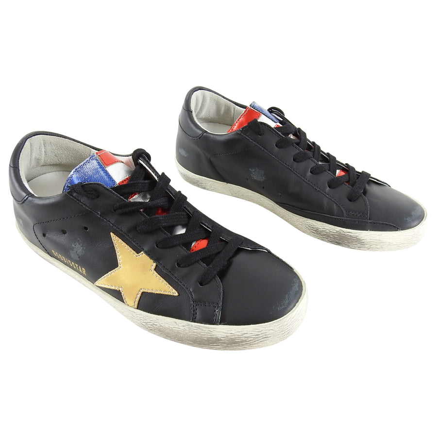 Golden Goose Superstar Special Flag Black and Metallic Runners - 6.5