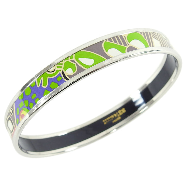 Hermes Narrow Green Enamel Silver Bangle Bracelet