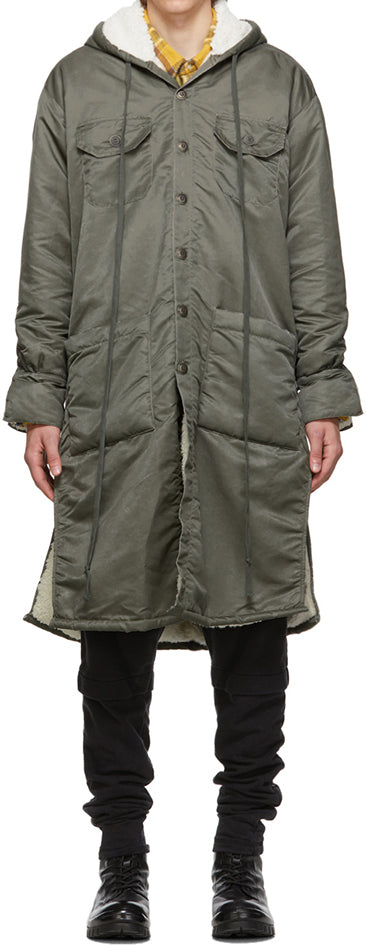 Greg Lauren Washed Satin Army Green Fleece Lined Parka - 4/6
