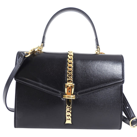 Gucci 1969 Sylvie Small Black Top Handle Two-Way Bag