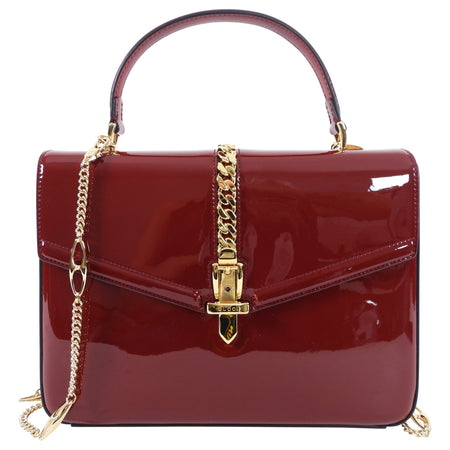 Gucci 1969 Sylvie Small Red Patent Top Handle Two-Way Bag