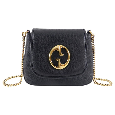 Gucci 1973 Black Small GG Logo Leather Crossbody Bag