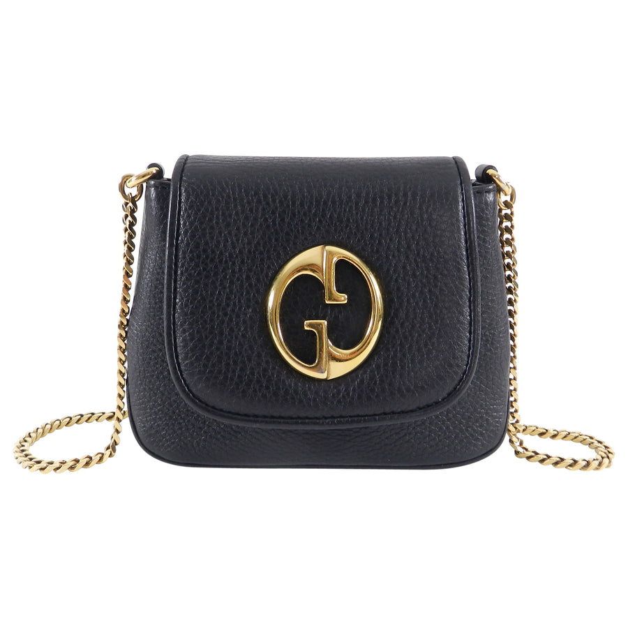 52b7eaaa488 Gucci 1973 Black Small GG Logo Leather Crossbody Bag – I MISS YOU ...
