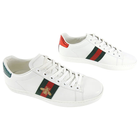 Gucci Ace White Sneaker with Red Green Bee Web Stripe - USA 8