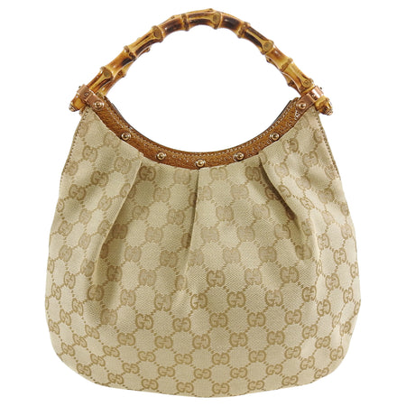 Gucci Beige Monogram Jacquard Bamboo Handle Small Bag