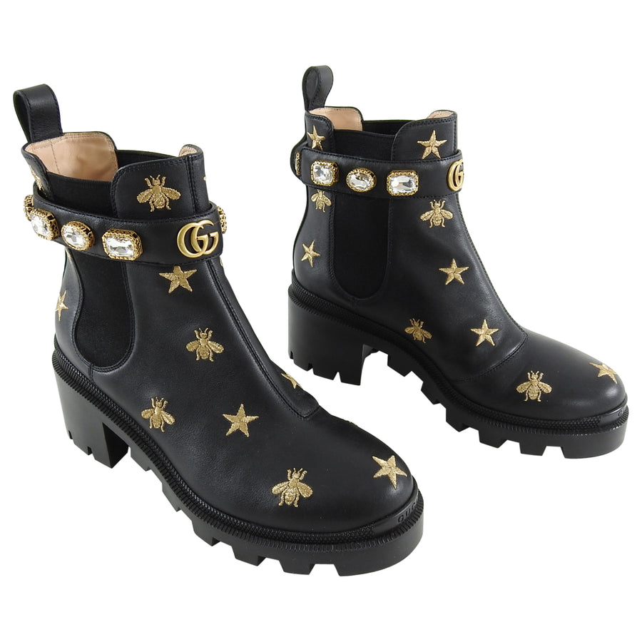 c2141db8 Gucci 2019 Gold Embroidered Bee and Stars Chunky Ankle Boots - 9.5