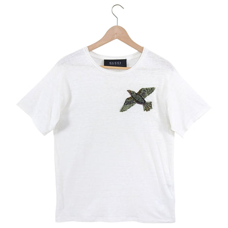 Gucci White Linen Jewel Embellished Bird T Shirt - S