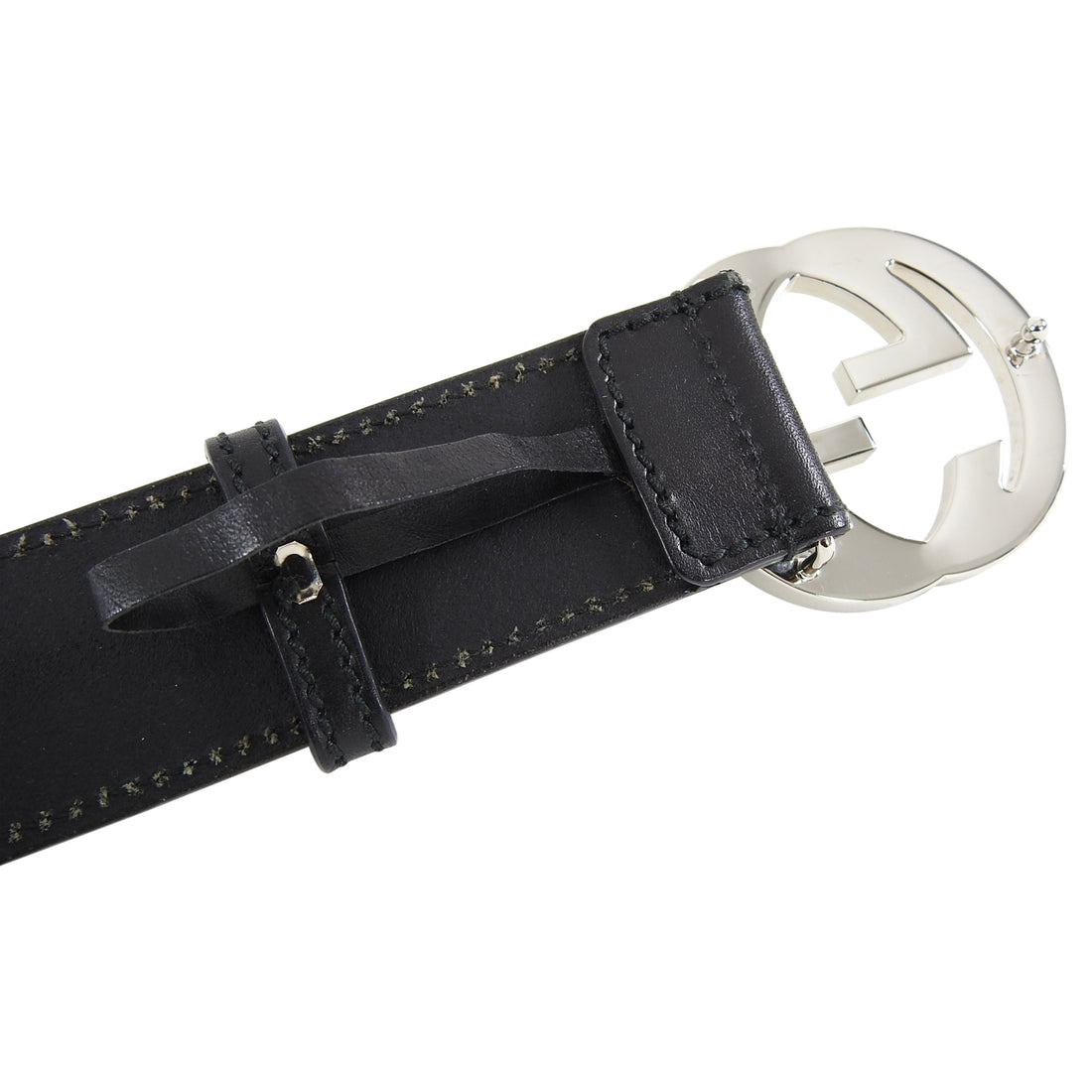Gucci Black Belt with Silver GG Buckle