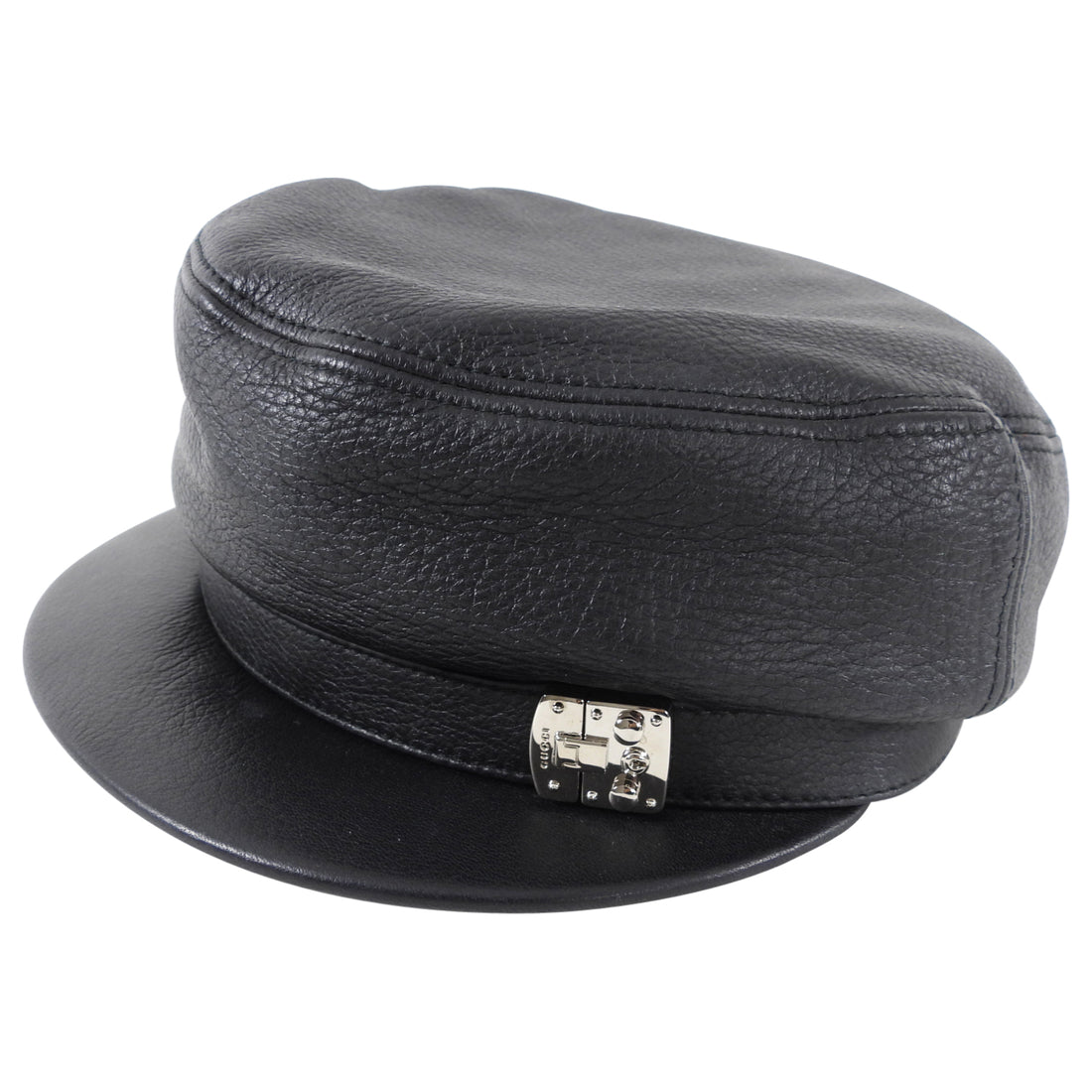 Gucci Black Leather Newsboy Hat with Silver Detail
