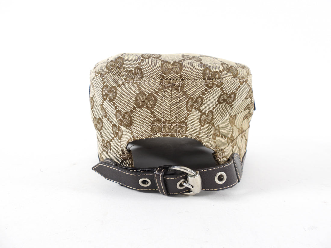 Gucci Brown Monogram Canvas Newsboy Hat with Grommets