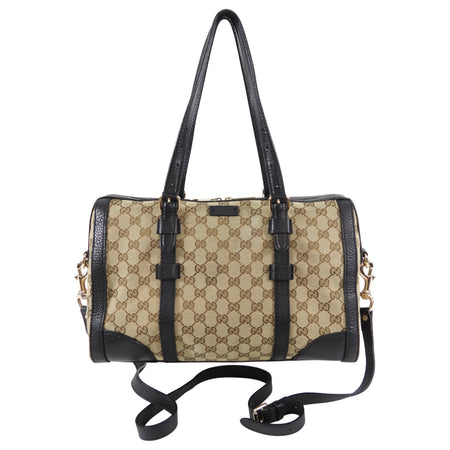 Gucci Monogram Canvas and Black Leather Two Way Bag with Shoulder Strap