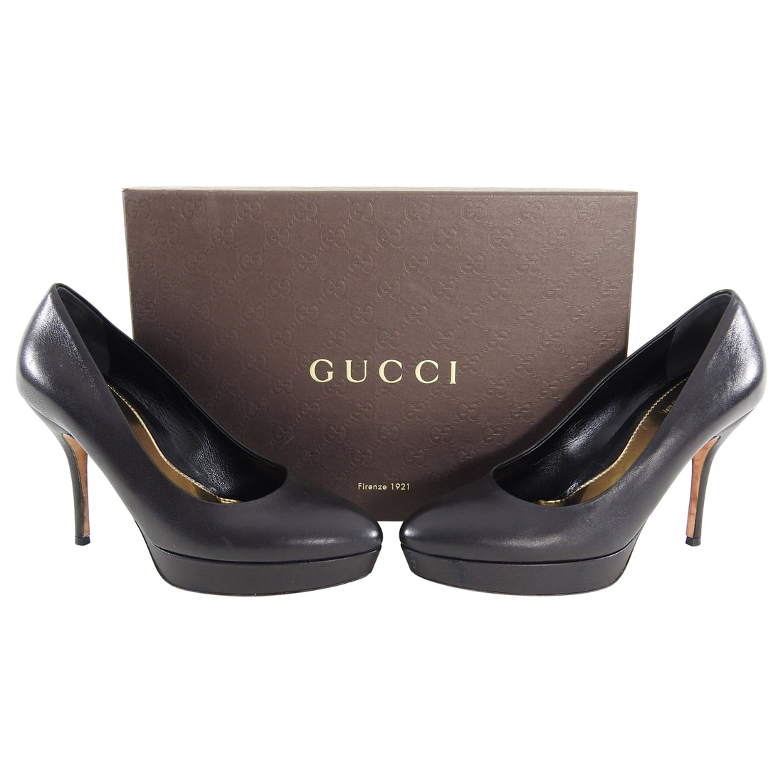 Gucci Black Leather Platform Pumps Heels - 6