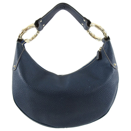 Gucci Dark Blue Leather Hobo Crescent Bamboo Bag