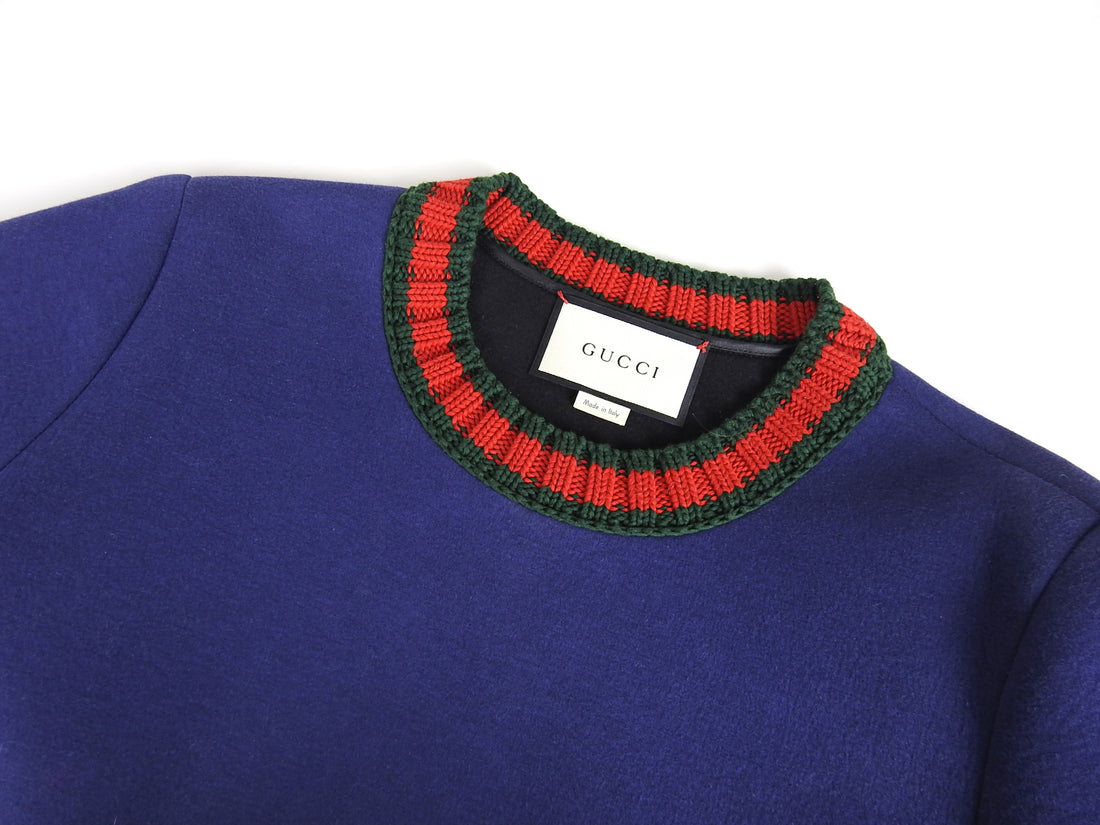 Gucci Blue Sweatshirt with Red Green Knit Web Trim - M