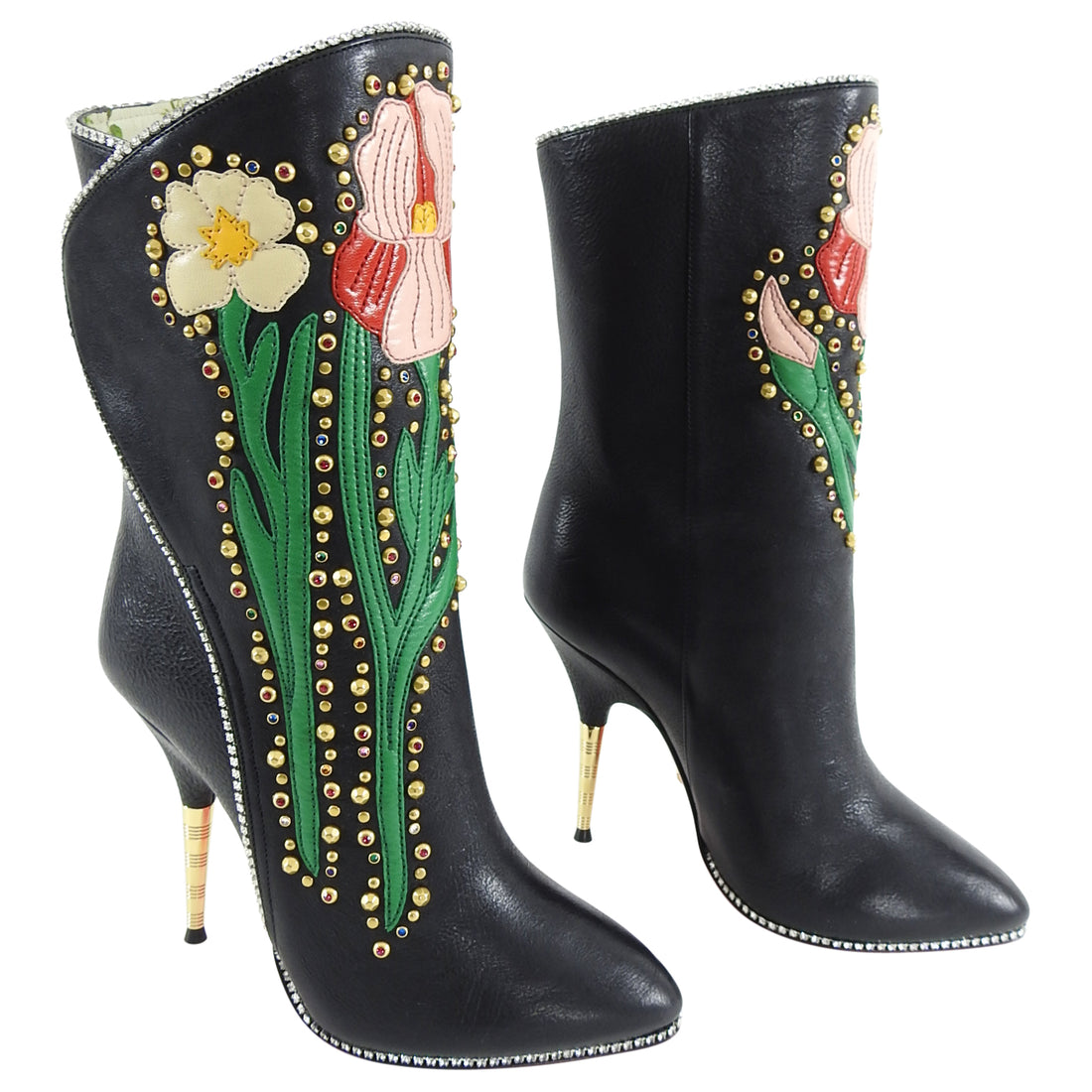 Gucci Fall 2017 Runway Black Crystal Floral Ankle Boots - 5