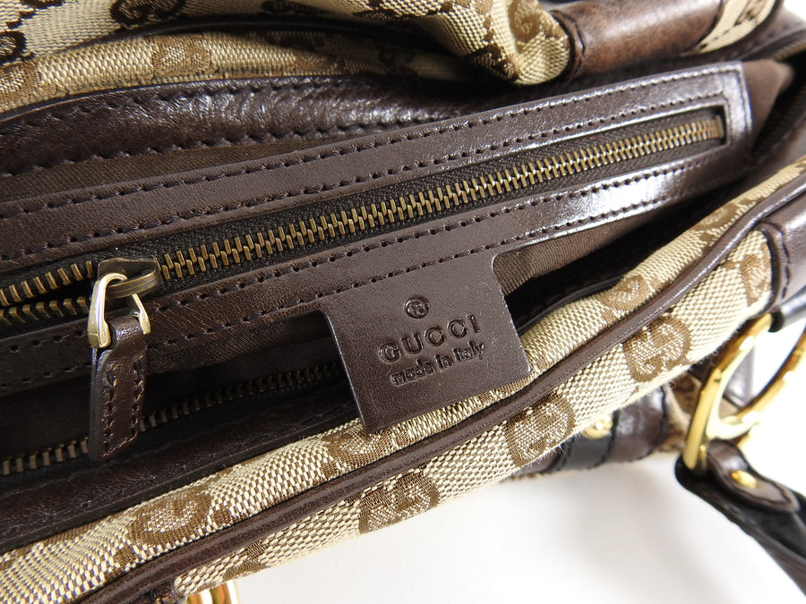Gucci Brown Monogram Canvas Boston Doctor Bag with Logo