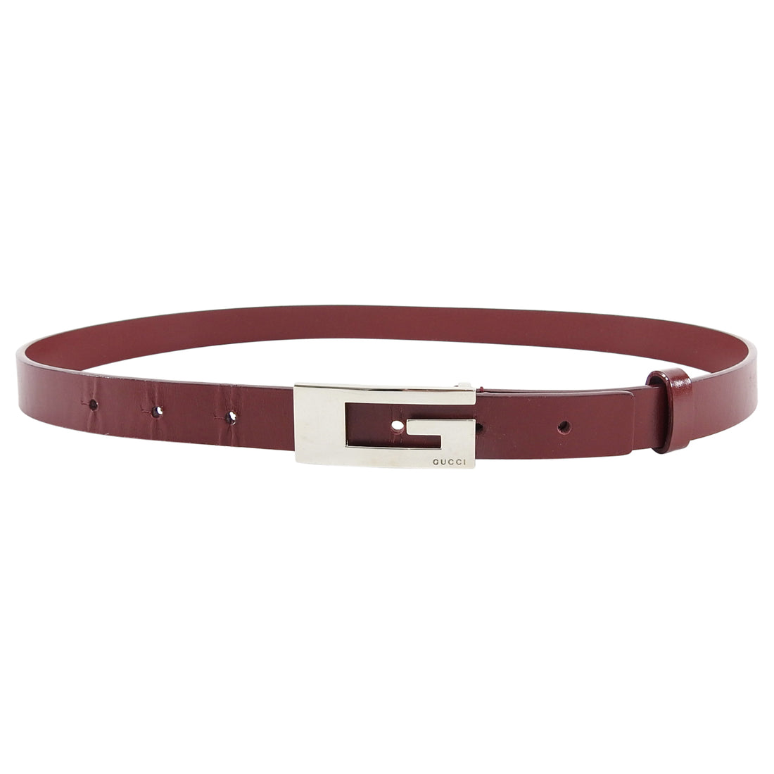 Gucci Early 2000's Vintage Burgundy G Logo Belt - 75/30