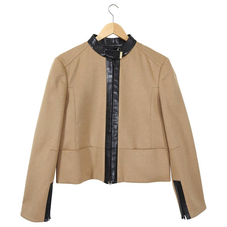 Gucci Camel Wool and Leather Trim Zip Front Jacket - 10