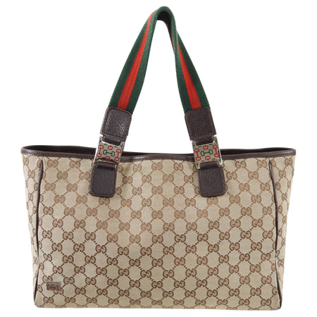 Gucci Brown Monogram Canvas Web Strap Handle Small Tote