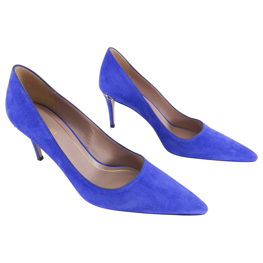 Gucci Adina Cobalt Blue Suede Pumps - 38