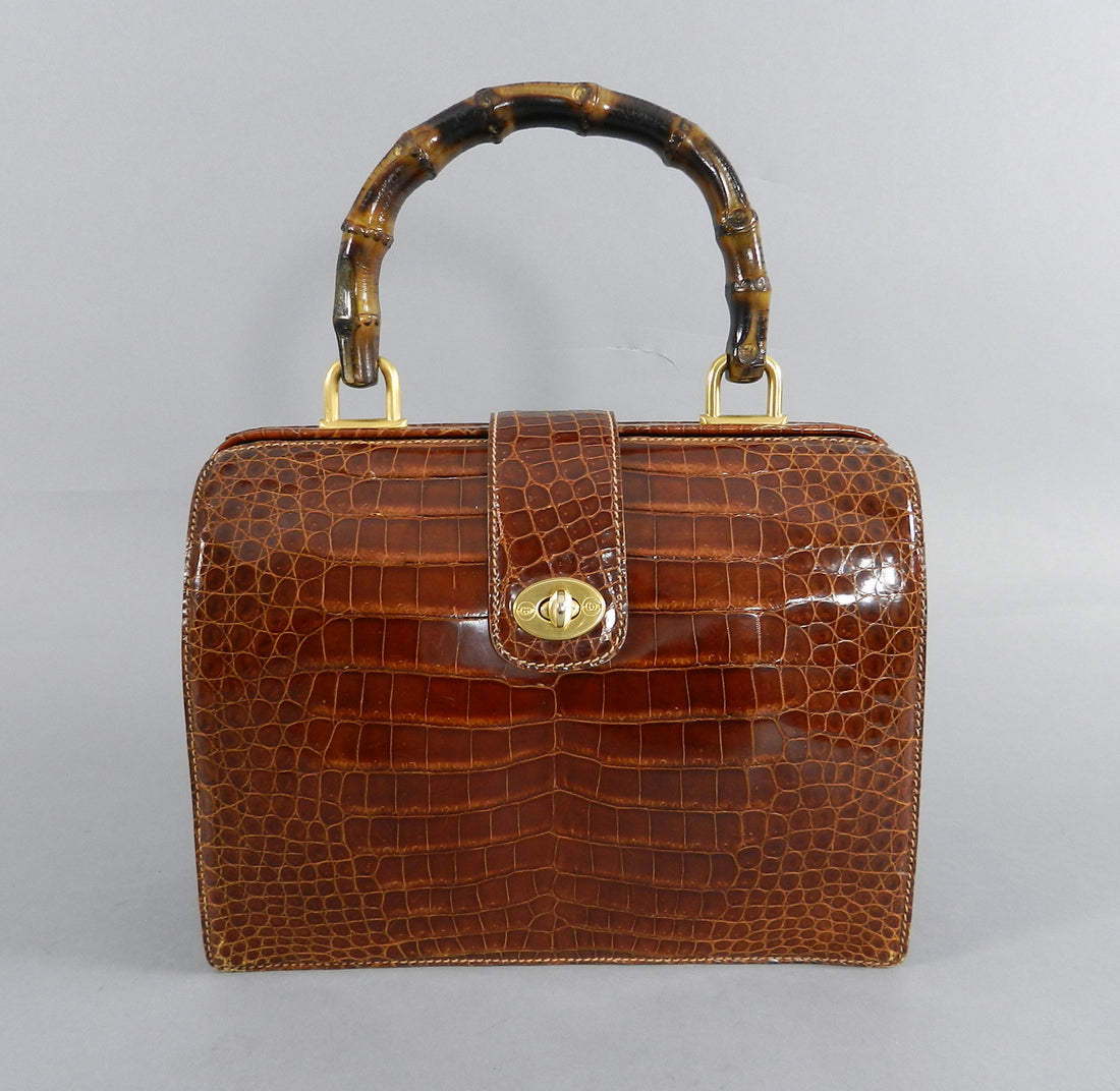 Gucci Vintage Cognac Crocodile Doctor Bag with Bamboo Handle
