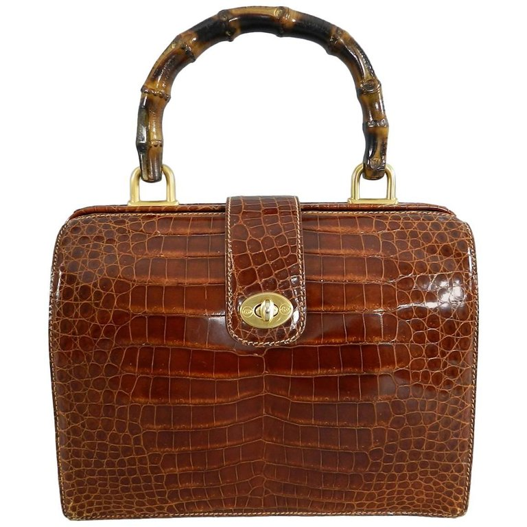 c224c373199d Gucci Vintage Cognac Crocodile Doctor Bag with Bamboo Handle – I ...