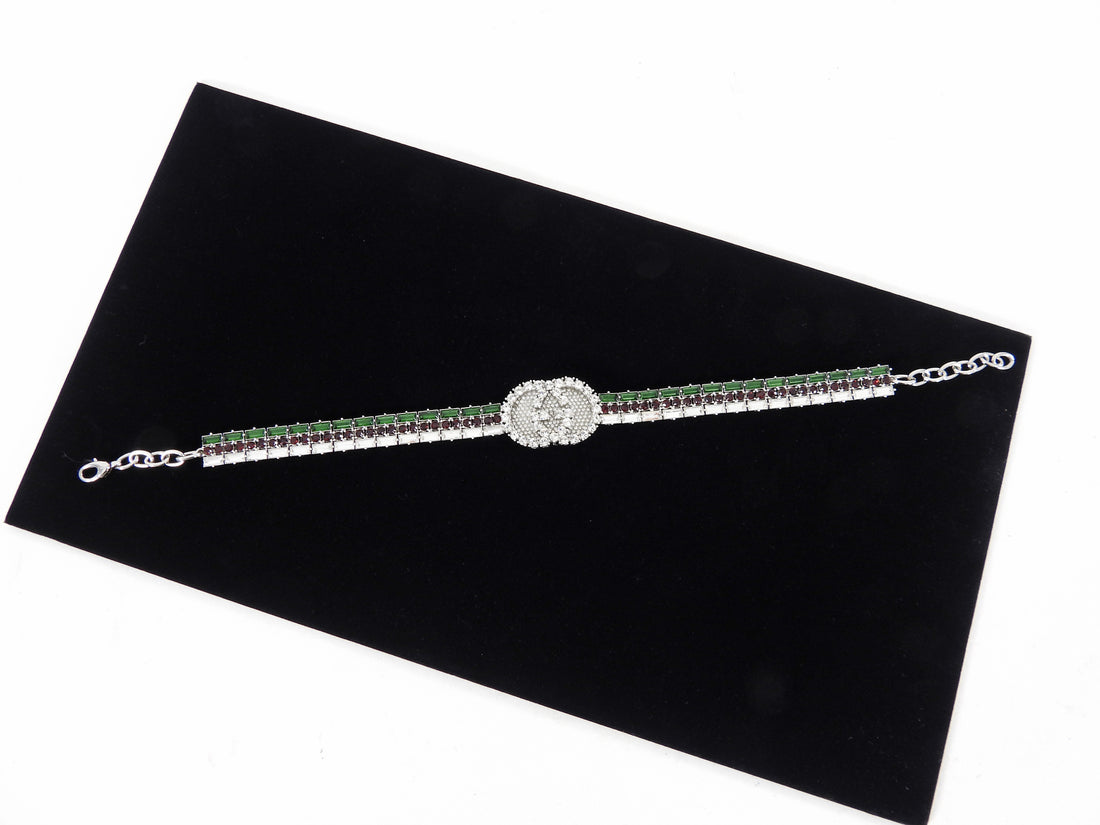 Gucci Crystal Web Green and Red Choker Necklace